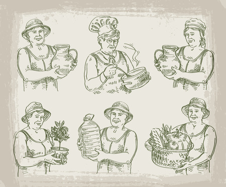 broth: women work on a light background. sketch. illustration