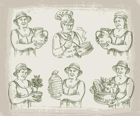 plant in pot: women work on a light background. sketch. illustration