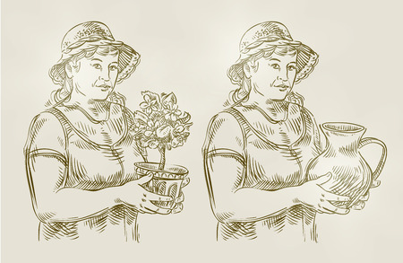 floriculture: woman with a jug, a flower in your hand. sketch. illustration Illustration