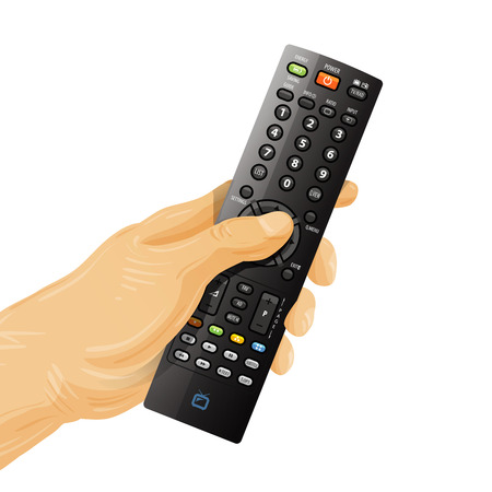 telecast: TV remote control in your hand.