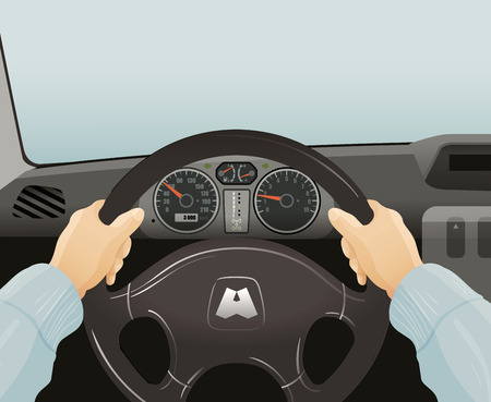 steering: driver behind the wheel of a car. vector illustration Illustration