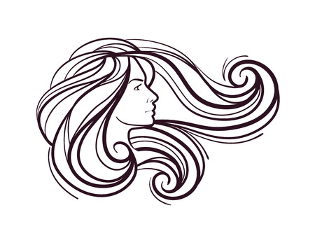 perfum: beautiful girl with long hair on white background Illustration
