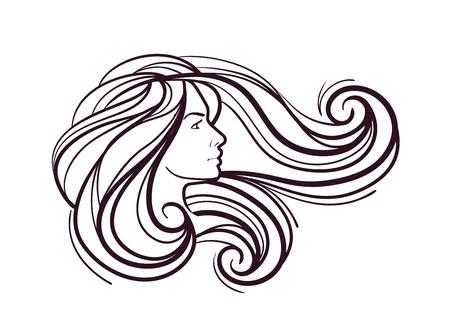 productos de belleza: hermosa chica con pelo largo sobre fondo blanco Vectores