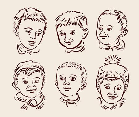 creche: beautiful childs face. vector illustration Illustration