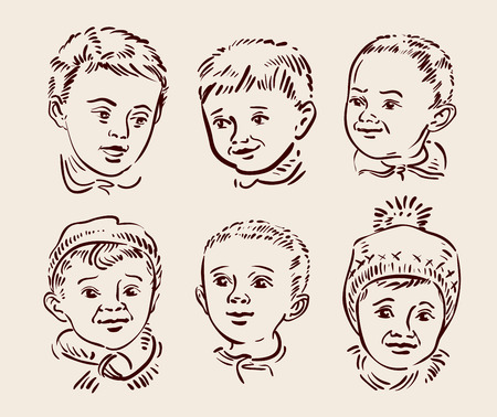 guardería: hermoso niño enfrentan. ilustración vectorial