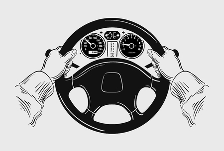 trucker: hands on the wheel of the car. vector illustration
