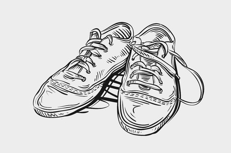 sports shoe: sports shoes on gray background. vector illustration