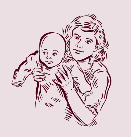 mammy: the mother and child. vector illustration