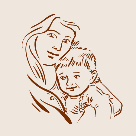 caring for: the mother and child. sketch. vector illustration