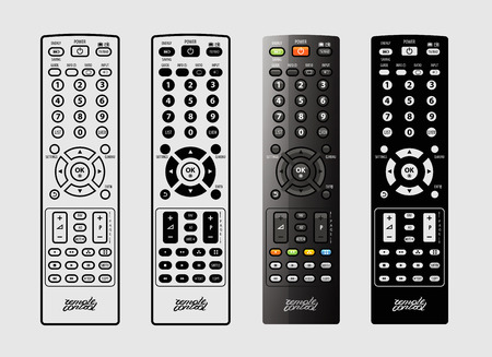 telly: TV remote control on a white background. vector illustration