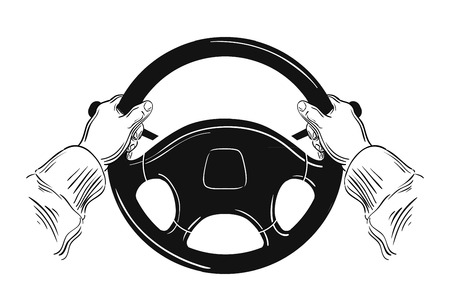 chauffeur: hand-drawn car wheel on a white background