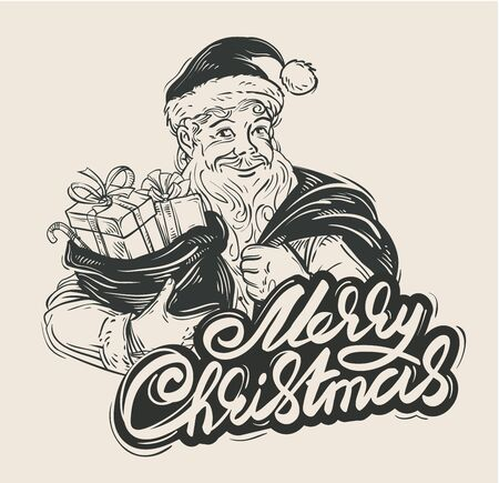 claus: Santa Claus with sack of Christmas gifts