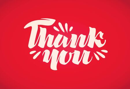 commendation: Thank you. vector handwritten text on a red background