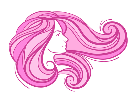 hair beauty: beautiful facial profile of a young girl with long hair on white background Illustration