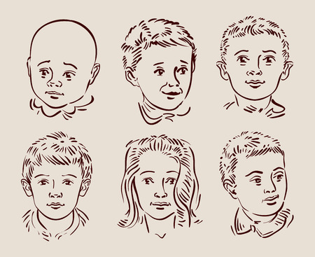 youngsters: hand-drawn faces of children.