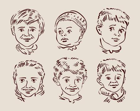 kiddie: beautiful children. hand drawn sketch.  Illustration