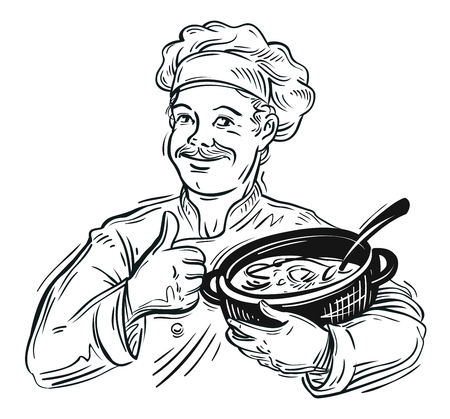 stirring: happy chef with pan in hand. sketch. vector illustration Illustration