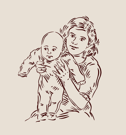 tot: young mother and newborn baby. sketch. vector illustration Illustration