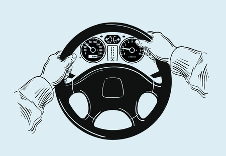 turn on: sketch. hands on the wheel. vector illustration