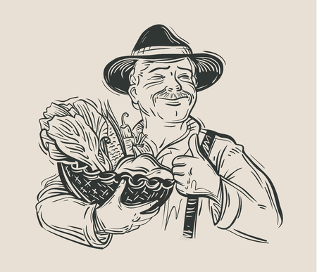 hand-drawn happy farmer and a basket of fresh vegetables. vector illustration 向量圖像