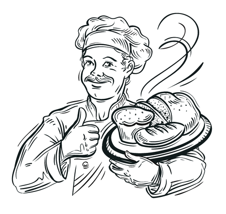 sketch. chef and bread isolated on white background.  向量圖像