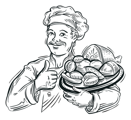 meat grill: hand-drawn happy chef with a tray of meat. vector illustration Illustration