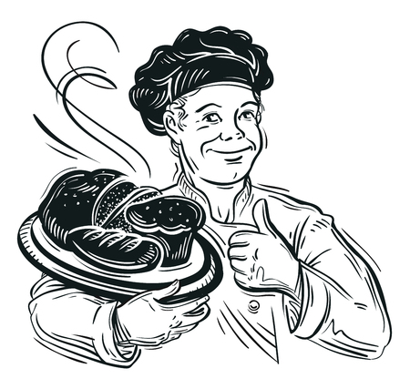 cake factory: hand drawn happy Baker and fresh bread. vector illustration