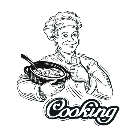 deliciously: cook with the pan in his hand. vector illustration