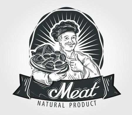 Koch, Küchenchef und Fleischwaren auf einem Tablett. Vektor-Illustration