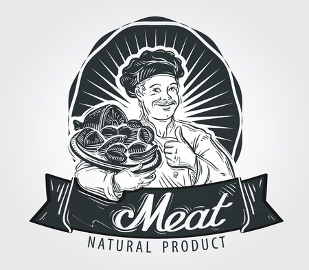 Cuoco, chef e prodotti a base di carne su un vassoio. illustrazione vettoriale Archivio Fotografico - 49947226