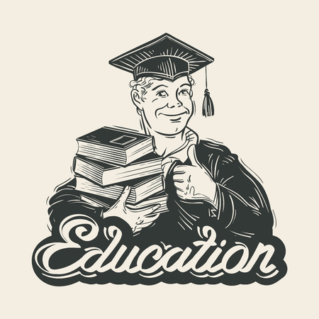 erudite: student with books in hand. vector illustration