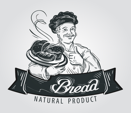 batch: hand-drawn chef with bread in hand on white background Illustration