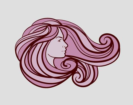 beautiful woman logo for beauty salon, spa. Vector illustration