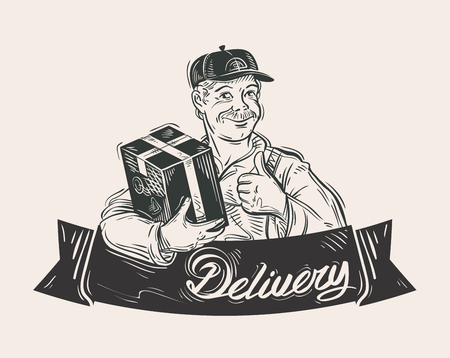 free hand: free shipping. the man with the parcel in his hand. vector illustration