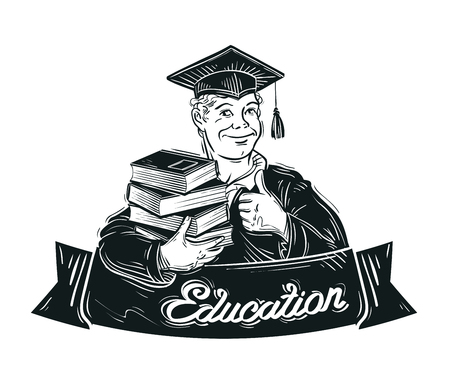 hand-drawn student with books in hand. vector illustration