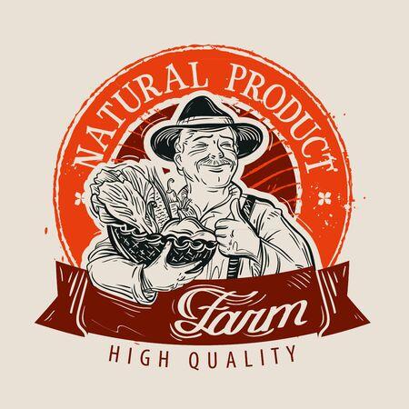 food market: hand-drawn farmer with a basket of fresh vegetables in hand. vector illustration Illustration