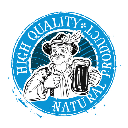 tipple: cheerful man with a beer in his hand. Illustration
