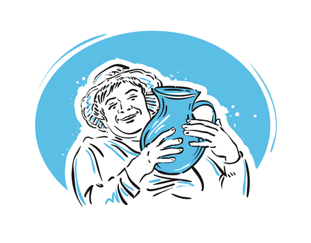 lady cow: cheerful woman with a jug of milk in his hands. vector illustration