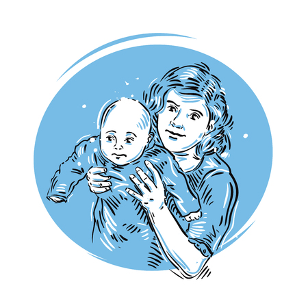 suckling: a mother holds her child in her arms. vector illustration