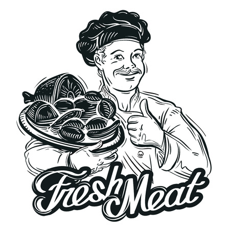 meats: happy chef and fresh meat on the tray. sketch. vector illustration