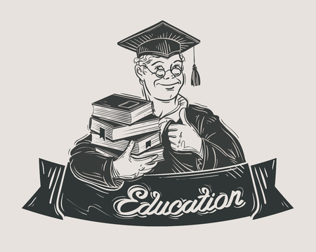 lawyers: hand-drawn student with books in hand. sketch. vector illustration Illustration