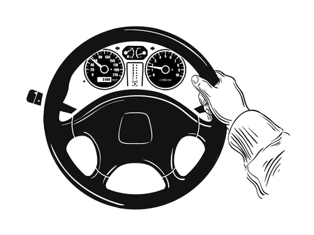 steering: hand drawn sketch of steering wheel. vector illustration Illustration