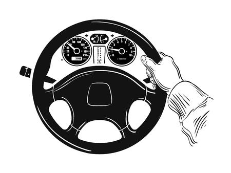 hand drawn sketch of steering wheel. vector illustration Illustration