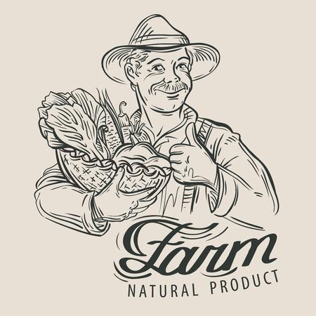agricultor: granjero feliz y verduras frescas. bosquejo. ilustración vectorial