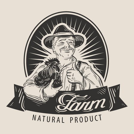 gallo: happy farmer with a chicken in his hand. vector illustration