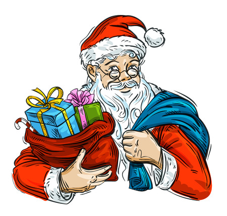 compliments: Santa Claus with a bag of Christmas gifts in hand