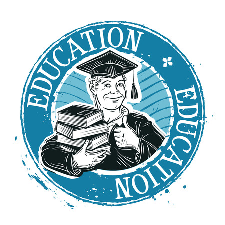 student with books: student with books in hand. sketch. vector illustration
