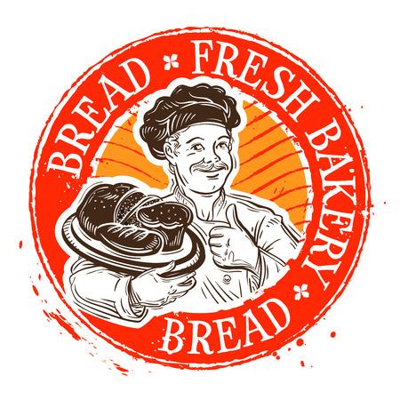 handgetekende gelukkig chef-kok en brood. vector illustratie