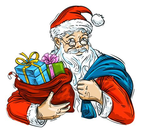 christmas gifts: hand-painted Santa Claus with a bag of Christmas gifts