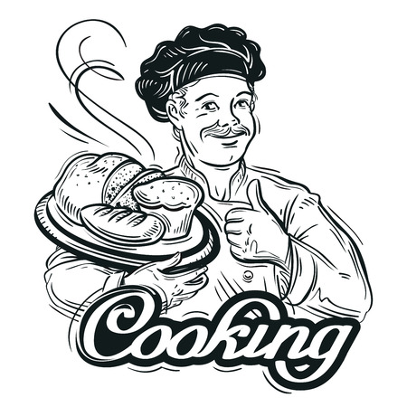scone: hand-drawn chef with tray of bread. vector illustration